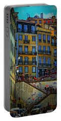Up The Stairs - Lisbon Portable Battery Charger by Mary Machare