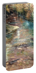 Portable Battery Charger featuring the painting Upstream by Karen Zuk Rosenblatt