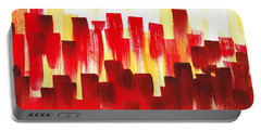 Portable Battery Charger featuring the painting Urban Abstract Red City Lights by Irina Sztukowski