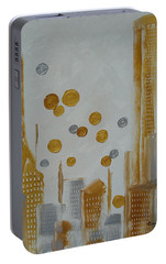 Portable Battery Charger featuring the painting Urban Polish by Judith Rhue