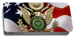U. S. Army Colonel - C O L Rank Insignia Over Gold Great Seal Eagle And Flag Portable Battery Charger