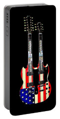 U S Flag Gibson Guitar Poster Portable Battery Charger