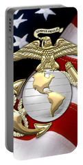U. S. Marine Corps - U S M C Eagle Globe And Anchor Over American Flag. Portable Battery Charger