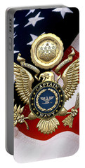 U. S.  Navy Captain - C A P T  Rank Insignia Over Gold Great Seal Eagle And Flag Portable Battery Charger