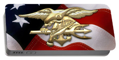 U. S. Navy S E A Ls Emblem Over American Flag Portable Battery Charger