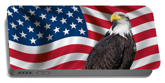 Portable Battery Charger featuring the photograph Usa Flag And Bald Eagle by Carsten Reisinger