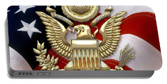 U. S. A. Great Seal In Gold Over American Flag  Portable Battery Charger