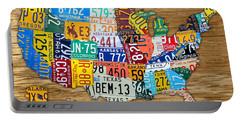 Usa License Plate Map Car Number Tag Art On Light Brown Stained Board Portable Battery Charger