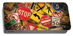 Portable Battery Charger featuring the photograph Usa Traffic Signs by Carsten Reisinger