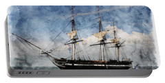 Uss Constitution On Canvas - Featured In 'manufactured Objects' Group Portable Battery Charger by EricaMaxine  Price