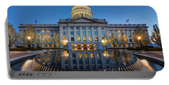 Utah State Capitol In Reflecting Fountain At Dusk Portable Battery Charger