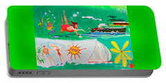Portable Battery Charger featuring the painting Vacation All I Ever Wanted by Beth Saffer