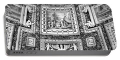 Vatican Museum Gallery Of Maps Black And White Portable Battery Charger
