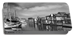 Veiw Of Marina In Victoria British Columbia Black And White Portable Battery Charger