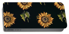Velours Au Sabre Silk Decoration Of Sunflowers By Maison Ogier And Duplan, Lyon 1894 Textile Portable Battery Charger