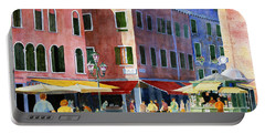 Portable Battery Charger featuring the painting Venetian Piazza by Roger Rockefeller
