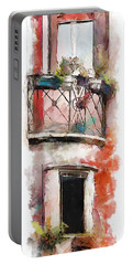 Portable Battery Charger featuring the painting Venetian Windows 4 by Greg Collins