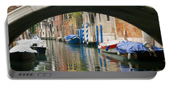 Portable Battery Charger featuring the photograph Venice Canal Boat by Silvia Bruno