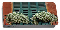 Portable Battery Charger featuring the photograph Venice Flower Balcony 2 by Allen Beatty
