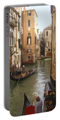 Portable Battery Charger featuring the photograph Venice Gondolas by Karen Zuk Rosenblatt