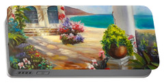 Portable Battery Charger featuring the painting Venice Villa by Jenny Lee