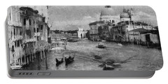 Vintage Venice Black And White Portable Battery Charger by Georgi Dimitrov