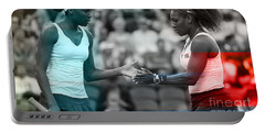 Venus Williams And Serena Williams Portable Battery Charger by Marvin Blaine