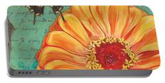 Verdigris Floral 1 Portable Battery Charger by Debbie DeWitt