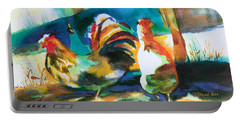 Portable Battery Charger featuring the painting Veridian Chicken by Kathy Braud