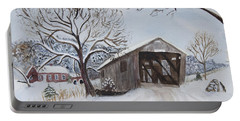 Vermont Covered Bridge In Winter Portable Battery Charger