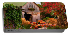 Vermont Pumpkins And Autumn Flowers Portable Battery Charger by Jeff Folger