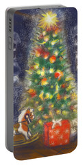 Portable Battery Charger featuring the painting Veronicas Pony Rides Again by Jean Pacheco Ravinski