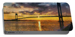 Verrazano Bridge During Sunset Portable Battery Charger