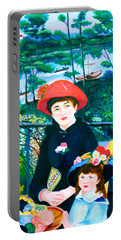 Version Of Renoir's Two Sisters On The Terrace Portable Battery Charger by Lorna Maza