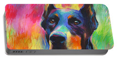 Vibrant Doberman Pincher Dog Painting Portable Battery Charger