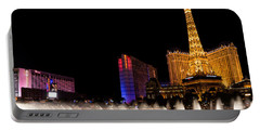 Vibrant Las Vegas - Bellagio's Fountains Paris Bally's And Flamingo Portable Battery Charger