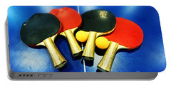 Vibrant Ping-pong Bats Table Tennis Paddles Rackets On Blue Portable Battery Charger