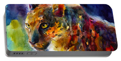 Vibrant Watercolor Leopard Wildlife Painting Portable Battery Charger
