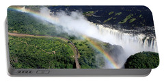 Rainbow Over Victoria Falls  Portable Battery Charger by Aidan Moran