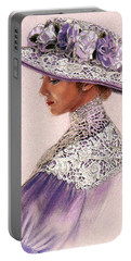 Victorian Lady In Lavender Lace Portable Battery Charger