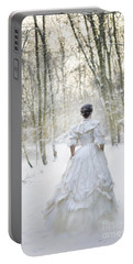 Victorian Woman Running Through A Winter Woodland With Fallen Sn Portable Battery Charger