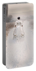 Victorian Woman Walking Through A Winter Meadow Portable Battery Charger