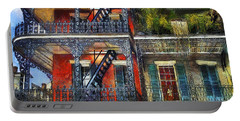 Portable Battery Charger featuring the photograph Vieux Carre' Balconies by Tammy Wetzel