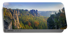View From The Bastei Bridge In The Saxon Switzerland Portable Battery Charger