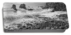 View Of Crashing Waves From Soberanes Point In Garrapata State Park In California Black And White. Portable Battery Charger