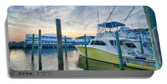 View Of Sportfishing Boats At Marina Portable Battery Charger by Alex Grichenko
