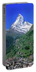 View Of The Matterhorn And The Town Portable Battery Charger