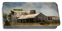 Barn -vintage Barn With Brick Silo - Luther Fine Art Portable Battery Charger