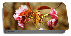 Portable Battery Charger featuring the photograph Vintage Cherry Blossoms by Judy Palkimas
