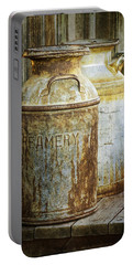 Vintage Creamery Cans In 1880 Town In South Dakota Portable Battery Charger